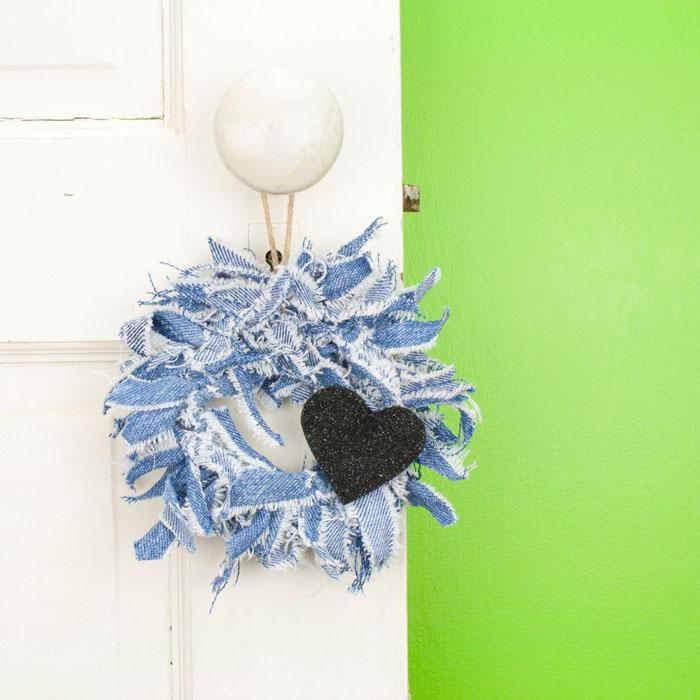 Mini Blue Jean Wreath Door Knob Hangers