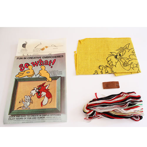 Buy cat mouse embroidery so what crewel kit