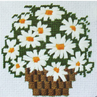 Sunset Designs Needle Pointers White Daisy Bouquet Needlepoint Kit