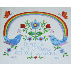 Vintage Friendship is a Rainbow Embroidery Sampler Kit #7055-9, ca. 1985