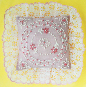 Vintage Pin Cushion Pattern M.H. Yarns Pink Posies Candlewicking Pillow Sachet Kit #SA08, ca. 1983