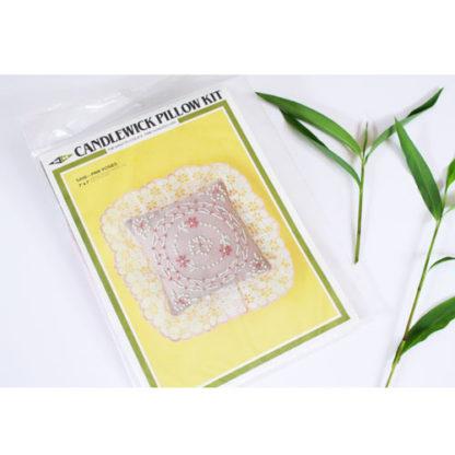 Vintage Pin Cushion Pattern M.H. Yarns Pink Posies Candlewicking Pillow Sachet Kit #SA08, ca. 1983