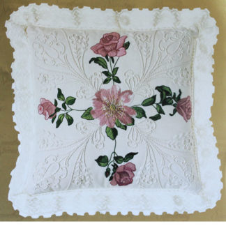 Vintage Pink Roses Pillow Candlewicking Whitework Embroidery Kit #80188, ca. 1990