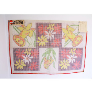 Latch Hook Rug Canvas Poinsettia, Daffodil, & Iris