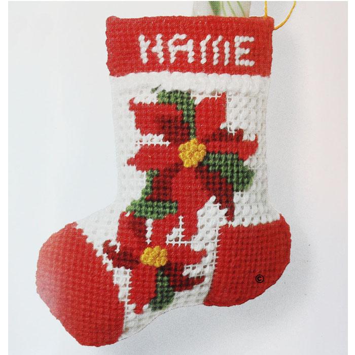 Jiffy Needlepoint Christmas Ornament Kit Poinsettia Stocking - Jiffy Needlepoint Christmas Ornament Kit Stocking Orangedogcrafts.com
