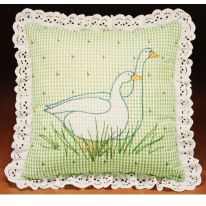 Spider Lace Embroidery Cushion Kit #4111 Lacy Country Geese