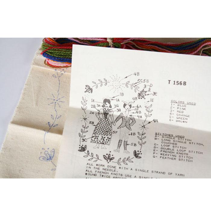 Wedding hand embroidery kit orange dog crafts