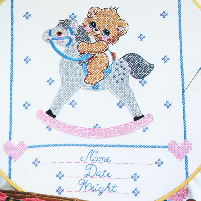 Birth record embroidery pattern baby sampler orange