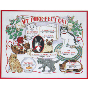 Cat Cross Stitch Kit My Purrfect Cat Record #13599