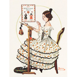 Norman Rockwell Crewel Embroidery Kit #1203 Woman Stitching