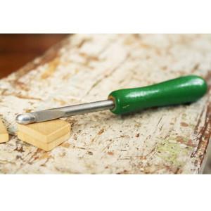 Rug Crochet Hook Tool with Green Wooden Handle