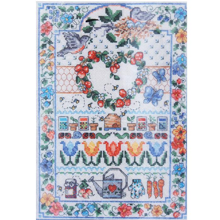 Floral cross stitch kit signs of spring orange dog crafts