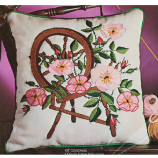 Avon Crewel Pillow Kit Spinning Wheel & Wild Roses