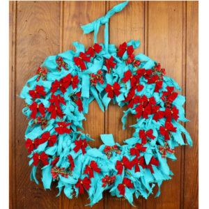 "13"" Christmas Rag Wreath"