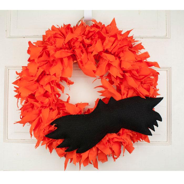 Bat wreath for sale custom halloween decoration orange for Craft wreaths for sale