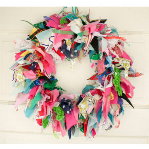 "15"" Crazy Quilt Rag Wreath #2"