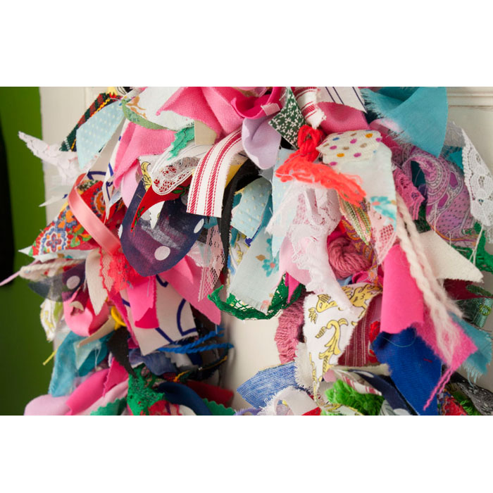 "15"" Crazy Quilt Rag Wreath #2"