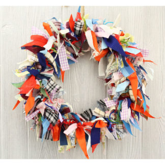 "15"" Fabric Rag Wreath ""Gingham"""