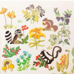 "Columbia Minerva crewel kit #7235 ""Flowers & Animals Picture"" (1972)"