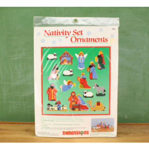 "Dimensions plastic canvas needlepoint kit #9064 ""Nativity Set Ornaments"" (1989)"