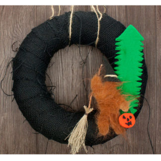 "12"" Black Burlap Bigfoot Halloween Wreath"