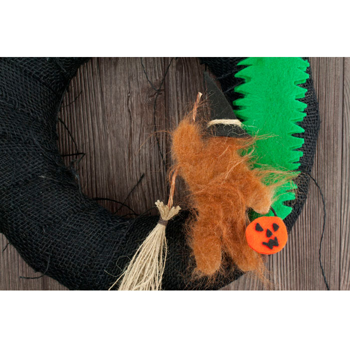 "12"" Black Burlap Halloween Bigfoot Wreath"