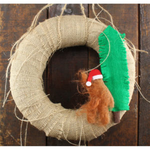 "12"" Sasquatch Santa Burlap Bigfoot Christmas Wreath"