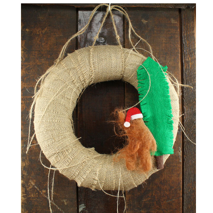 "12"" Sasquatch Santa Burlap Bigfoot Christmas Wreath"