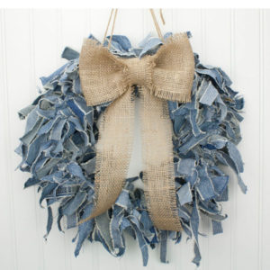 "15"" Blue Jean Wreath w/ Burlap Bow"