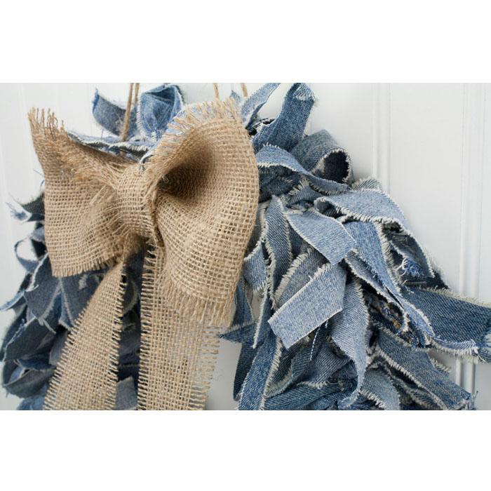"15"" Blue Jean Wreath w/ Burlap Bow"
