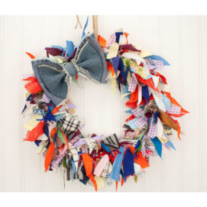 "15"" Crazy Quilt Fabric Rag Wreath w/ Blue Jean Bow"