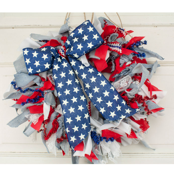 """15"""" 4th Of July Rag Wreath"""