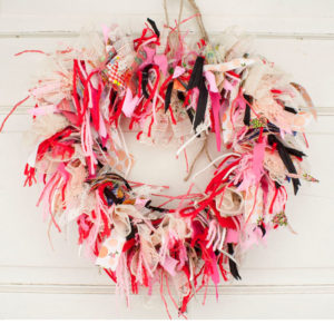 "13"" Heart Shaped Rag Wreath"