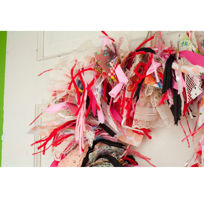 "13"" Heart Shaped Rag Wreath"