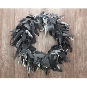 "15"" Black Jean Rag Wreath"