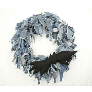 "Halloween Rag Wreath - 15"" Blue Jean Wreath With Bat"