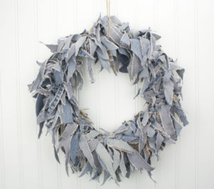 "15"" Blue Jean Rag Wreath"