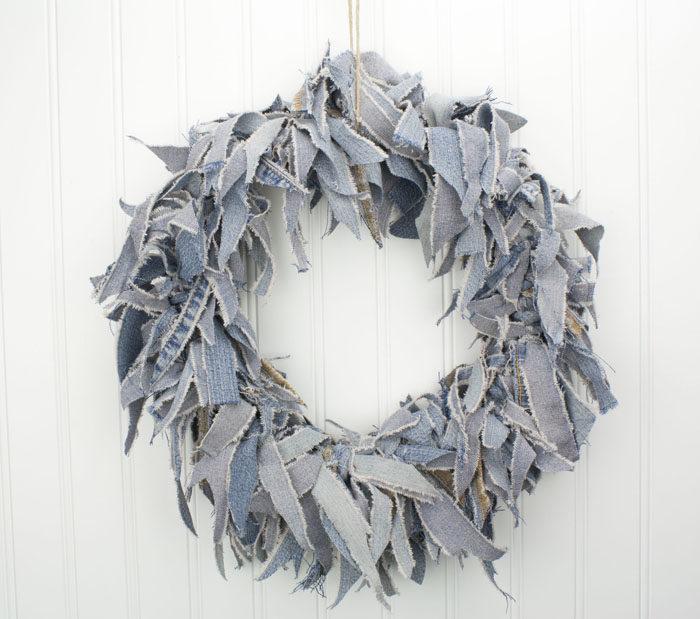 """15"""" Blue Jean Rag Wreath"""