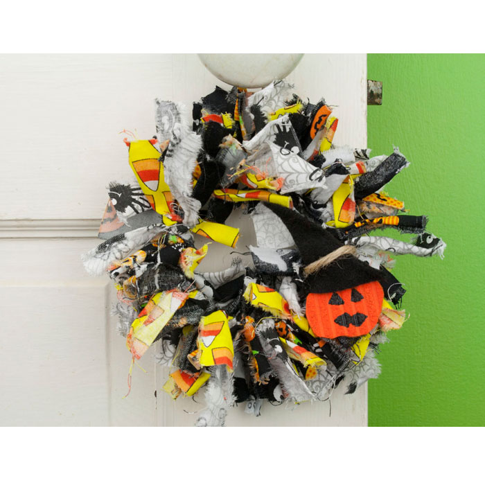Mini Halloween Rag Wreath