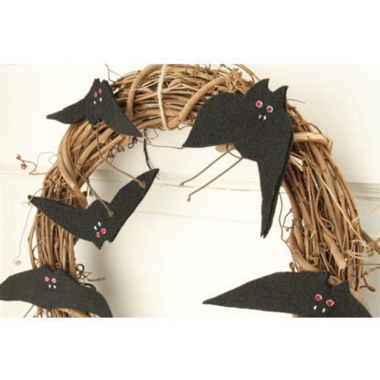 "12"" Halloween Grapevine Wreath with Bats"