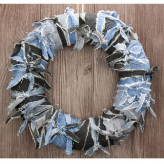 Denim Mix Knot Wreath