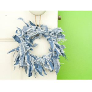 Mini Blue Jean Rag Wreath
