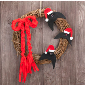 Bats Christmas Grapevine Wreath