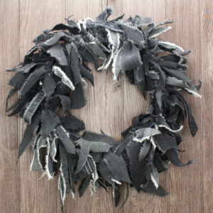 Black Jean Rag Wreath