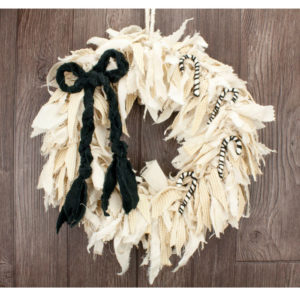 Black and White Candy Cane Rag Wreath