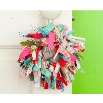 Mini Crazy Quilt Rag Wreath