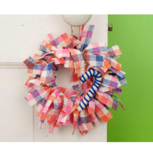 Pink Plaid Mini Rag Wreath