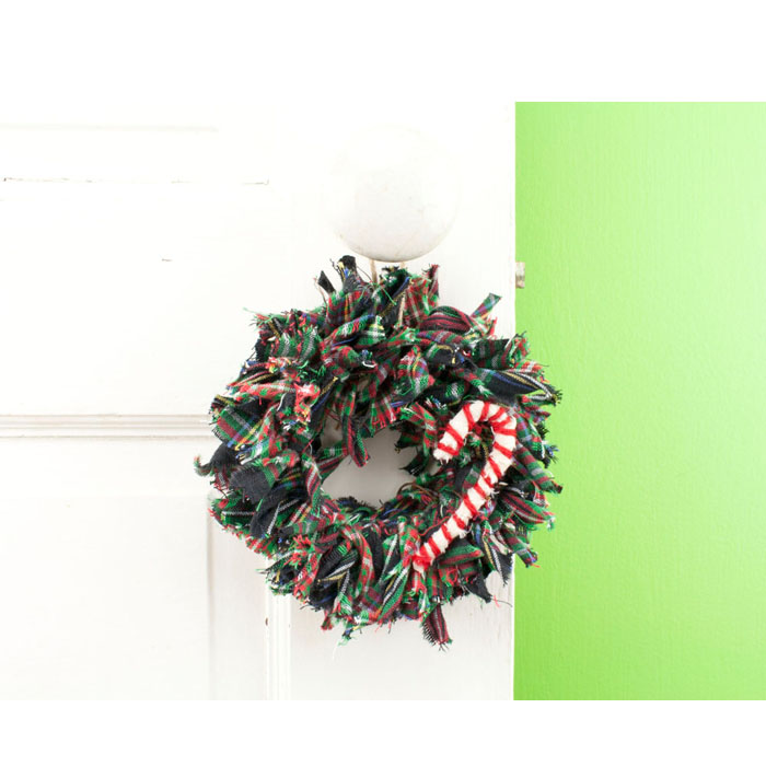 Plaid Mini Christmas Rag Wreath Ornament