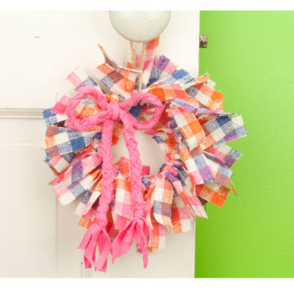 Pink Plaid Mini Rag Wreath with Bow