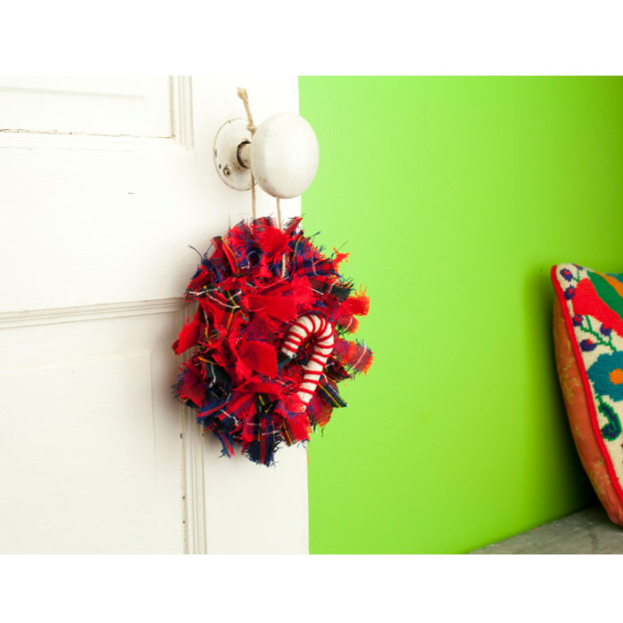 Red Tartan Mini Rag Wreath